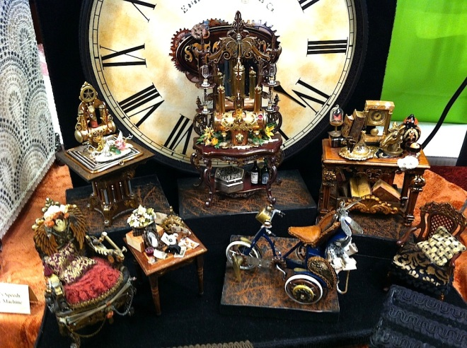 The Steampunk artifacts of the Teppers are beautifully detailed and are right in keeping with Steampunk aesthetics. I had a nice conversation with them about their work.