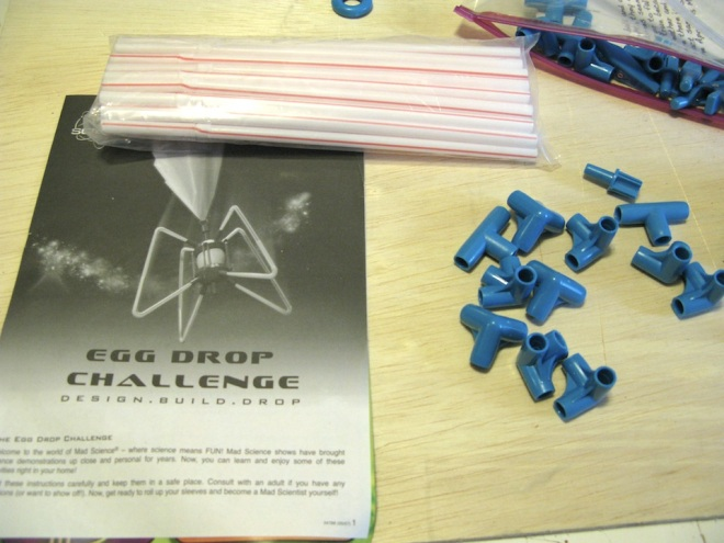 Egg Drop Challenge Kit from a project for my son's school. Seems every middle school does this science project. But as miniaturists, we look at those beautiful blue pieces in a different way.
